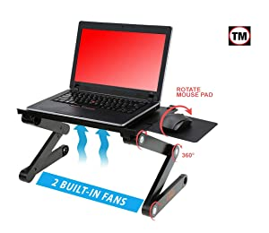 "Desk York Adjustable Laptop Stand to Use in Bed Recliner/Sofa -Best Gift for Friend-Men-Women-Student- Couch Lap Tray- Aluminum Table for Computer- 2 Built in Fans-Mouse Pad&USB Cord -Up to 17"" Black"