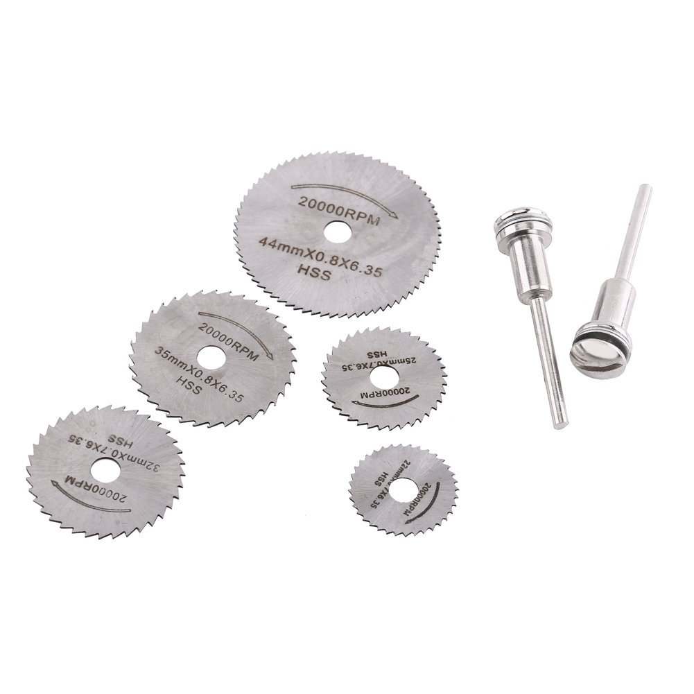 Mini HSS Rotary Tool Saw Blades For Metal Cutter Power Set Wood Cutting with 2 Rods