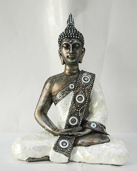DRW Buda Resina Thai Sentado toques Dorados Traje nacarado ...