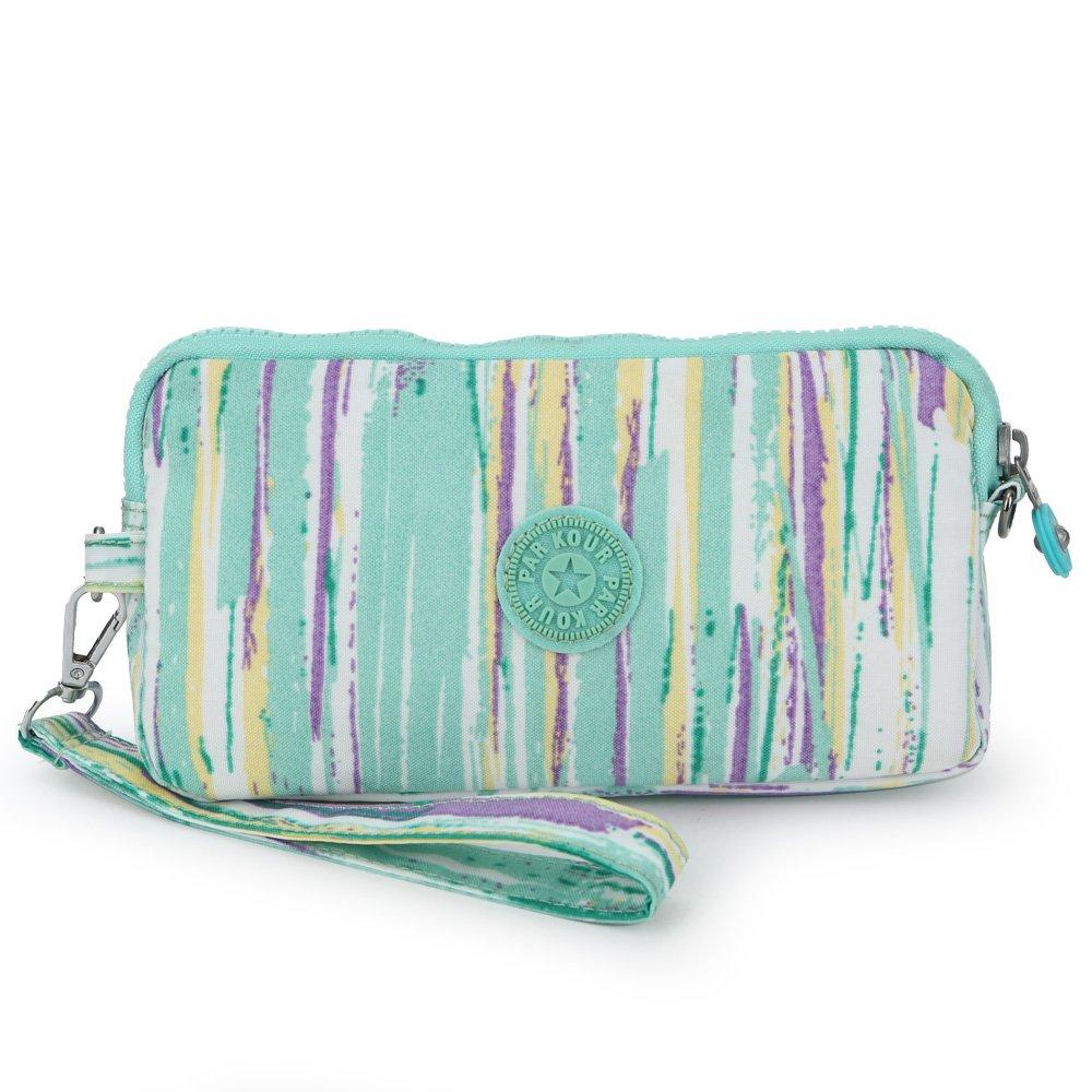 Sumcoa Womens Multi-purpose Canvas Casual Waterproof Nylon Wristlet Clutch bag Handbag Zipper Purse Cell Phone Money Pouch Wallet (light green)