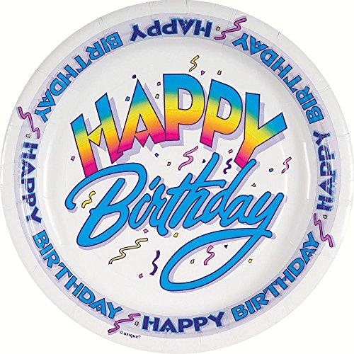 Retro Rainbow Birthday Paper Cake Plates, 8ct for $<!--$2.66-->