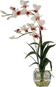 Nearly Natural 1135-WH Dendrobium with Glass Vase Silk Flower Arrangement, White,6.75
