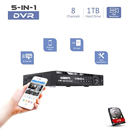 8 Channel CCTV DVR Recorder, DEATTI HD 1080P Lite 5in1 Hybrid DVR for Home  Security System with 1TB Hard Drive, Compatible with