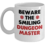 Awesome Dungeons and Dragons Mug - Beware The Smiling Dungeon Master Coffee & Teacup - 11oz Ceramic DM Cup - Great Unique DnD Gift Idea For Roleplay Loving Parents, Siblings, Friends, Him or Her
