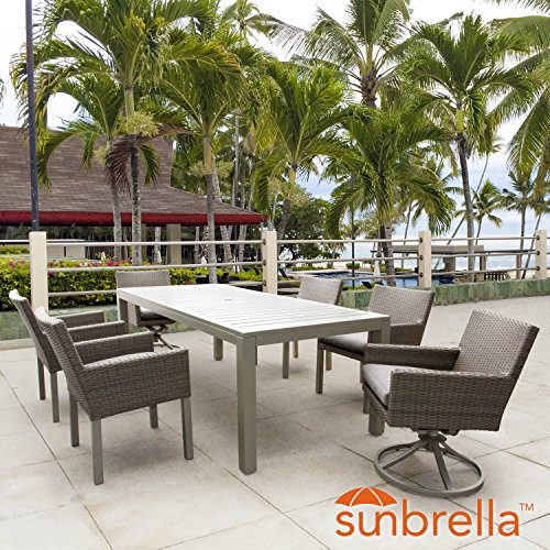 Lakeview Outdoor Designs Lafitte 7 Piece Wicker Patio Dining Set W/2 Swivel Rockers, 87 X 39 Inch Rectangular Table & Sunbrella Canvas Taupe Cushions By Swivel Dining Chair Cushion Canvas