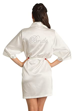 dd1325c7dd Zynotti Women s Rhinestone Bride Bridal Party Getting Ready Wedding Kimono  Ivory Satin Robe ...