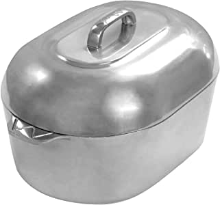 Cajun Cookware Aluminum Roaster Pan with Lid - 15-inch Roasting Pot - Easy to Clean Oval Cookware