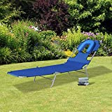 Outsunny Folding Adjustable Chaise Lounge with Face Cavity Outdoor Beach Camping Sun Lounger Bed Recliner (Blue)