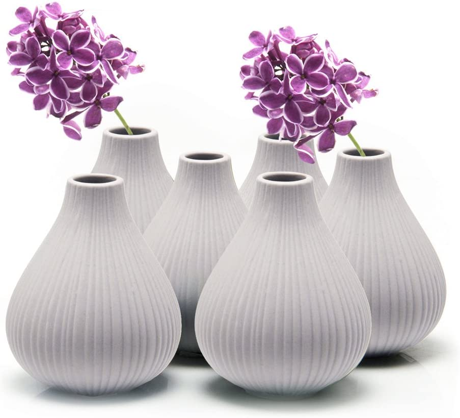 """Chive - Set of 6 Frost, 3"""" Wide 3.5"""" Tall Round Clay Pottery Flower Vase, Decorative Vase for Home Decor Living Room Office and Place Settings - Bulk (Light Grey)"""