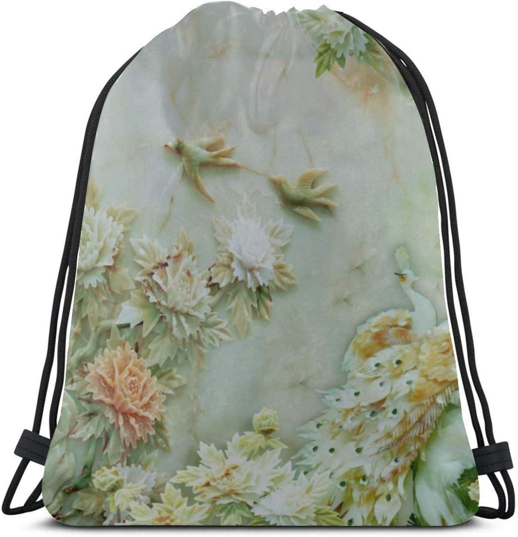 Unisex Single-sided Printing Retro Sparrow Bird Flower Green Leaf Drawstring Bag For Boys Polyester Gym Drawstring Bag For Men Fitness Drawstring Bag For Gym Outdoor Travel