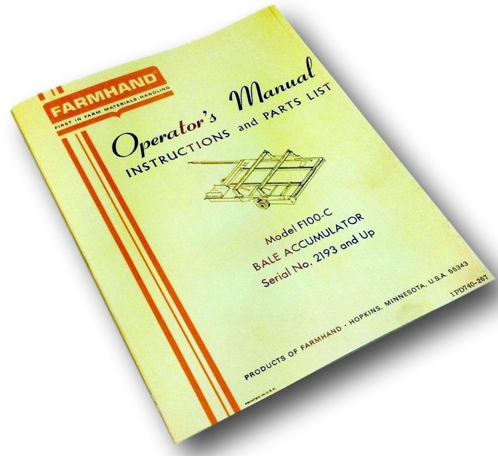 Amazon.com: Farmhand F100-C Bale Accumulator Instructions Operator Manual  Parts List Catalog: Industrial & Scientific