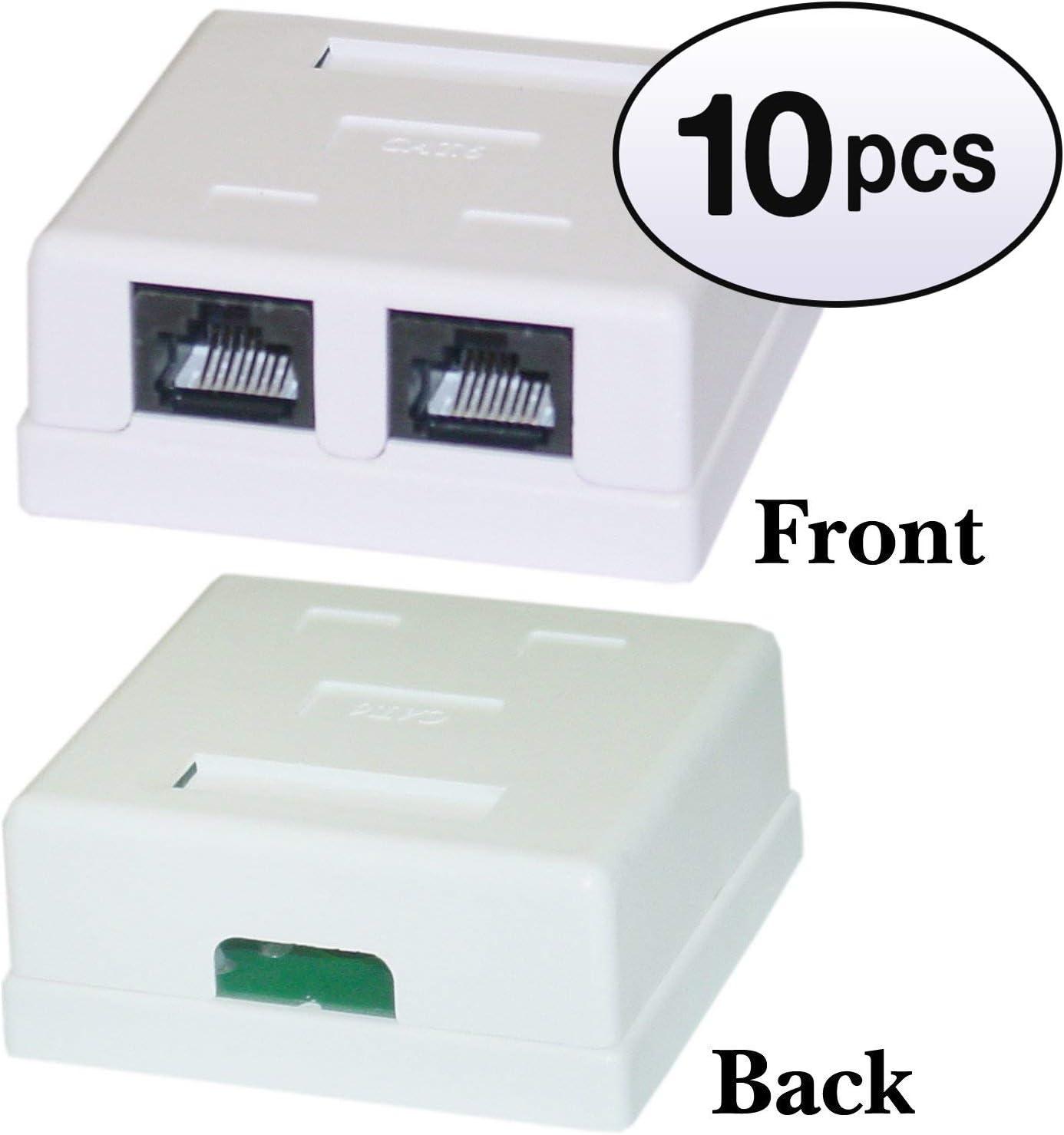 Female Unshielded GOWOS 10 Pack Cat6 Dual Jack Surface Mount Box