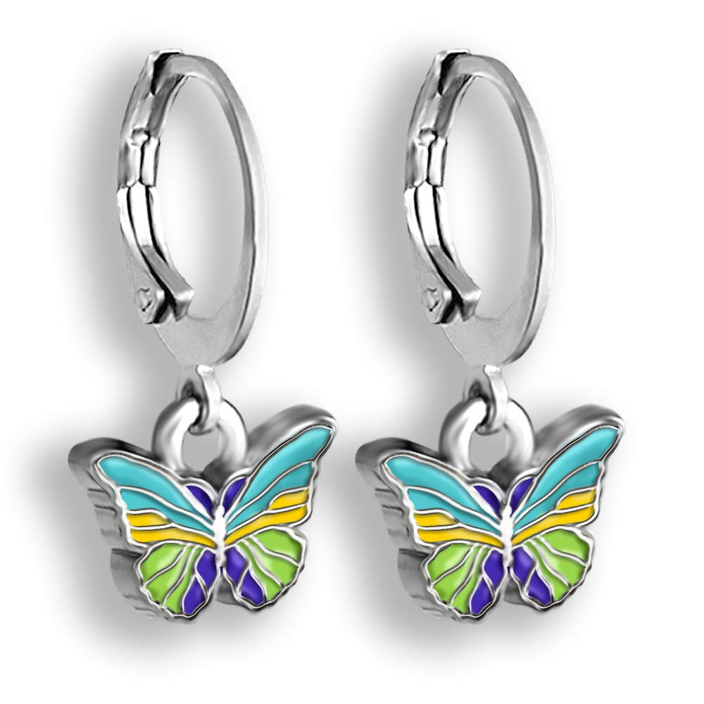 Butterfly Earrings For Women Hand Painted Enamel Butterfly Jewelry Pink And Purple Or Blue And Green Colorful Earrings Comfortable Safety Closure Dangle Hoop Earrings Hoops Earrings For Women