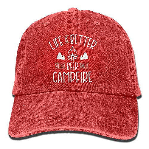 Unisex Life Is Better With A Beer - Campfire Camp Keep Warm Cap Life Is Better With A Beer - Campfire Camp Adventure Hats 2018 New Adult Cowboy Hat Red Hat New Beer
