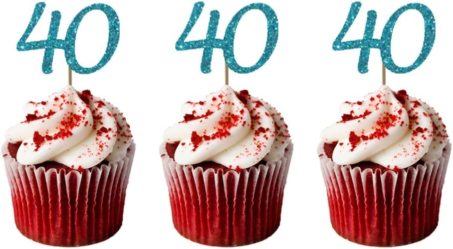Awe Inspiring Lissielou 40Th Birthday Cupcake Toppers In Glittery Gold Pack Of Funny Birthday Cards Online Aeocydamsfinfo