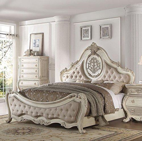 - Acme Furniture 27007EK Ragenardus Bed, Eastern King, Fabric/Antique White