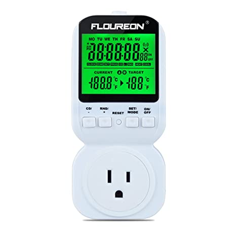 FLOUREON Thermostat Timer Switch Socket Plug ON/OFF Control 12H/24H for Heat and