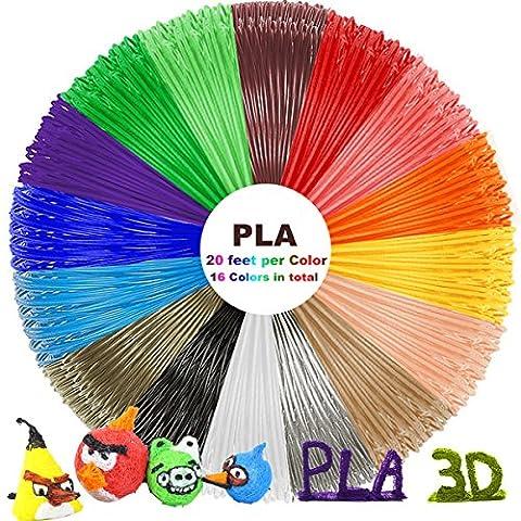 PLA 3D Pen Filament Refills(16 Colors, 20 Feet Each) with 100 Stencils EBooks - Dikale 3D Printing Pen Filament 1.75mm Total 320 Feet for PACKGOUT, MYNT3D, Tecboss, DeWang, Scribbler 3D Doodler - 16 Linear Feet
