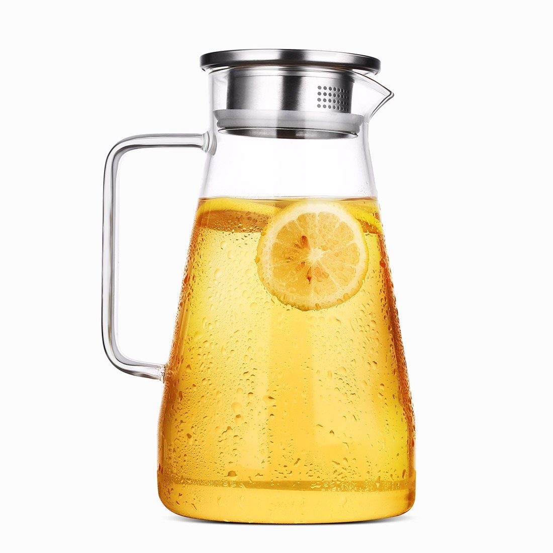 HOLD U FUN 1.8L/63oz Glass Water Carafe Pitcher with Stainless Steel Lid, Hot and Cold Water Jar/Carafe for Water,ice tea Juice container,fridge pitcher with handle,(1800ML)