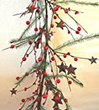 4.5 FT Berry Garland-(Christmas) with Rusty Stars