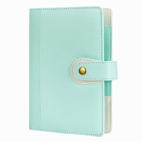 6 Ring Binder Macaron Notebook Travel Journal Agenda Organizer-Harphia,Size 7.48 x 5.51,with Snap Button(Mint Green)
