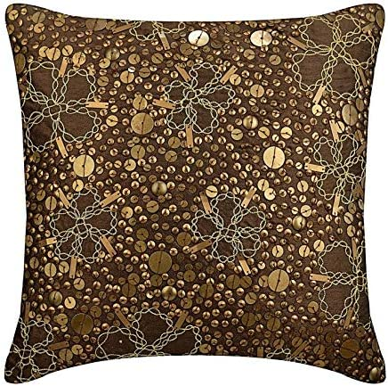 The HomeCentric Decorative Brown Euro Sham Covers 26×26 inch 65×65 cm , Silk Euro Size Pillow Covers, Nature Floral, Metal Sequins, Contemporary Euro Pillow Covers – Total Sophistication