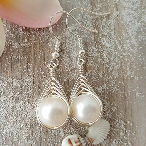 Exclusive from yinahawaii, Wire Braided Sized Round Natural Pearl Earrings,June Birthstone, sterling silver chain, Birthday Gift, FREE gift wrap, FREE gift message (Pearl Wire Earrings)