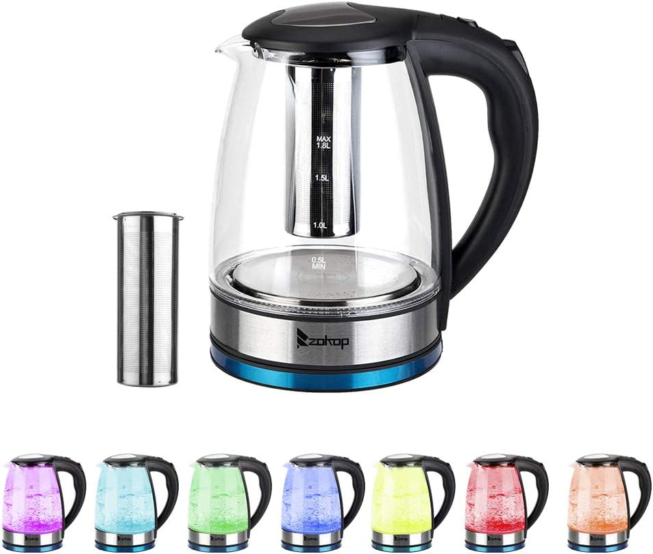 Vinvoter ZOKOP HD-1861-A 220V 2200W 1.8L Electric Glass Kettle WAS £55 NOW £15.70 w/code D5VH6A48 @ Amazon