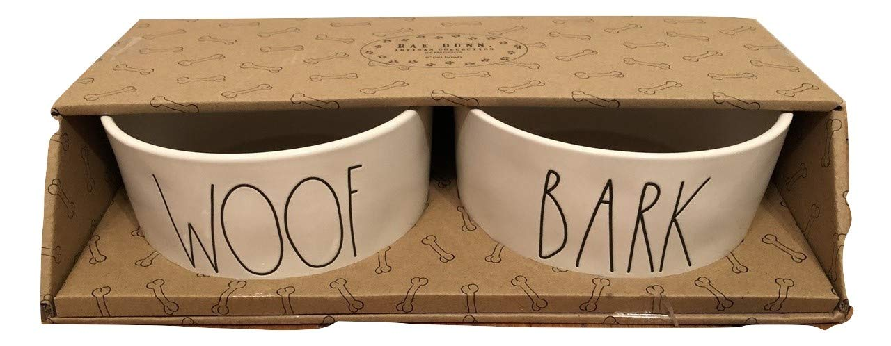 Rae Dunn by Magenta WOOF and BARK Large pet Bowl Set