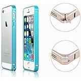 【ノーブランド品】全9色 Apple iPhone 5/iPhone 5S 0.7MM 超薄型 アルミ製 メタルバンパーケース 耐衝撃 アルミ金属フレーム バンパーカバー Premium Aluminum Metal Bumper Cover Frame Case for iPhone 5 and iPhone 5S ネジが必要がなくて簡単に取り付け!! (ライトブルー)