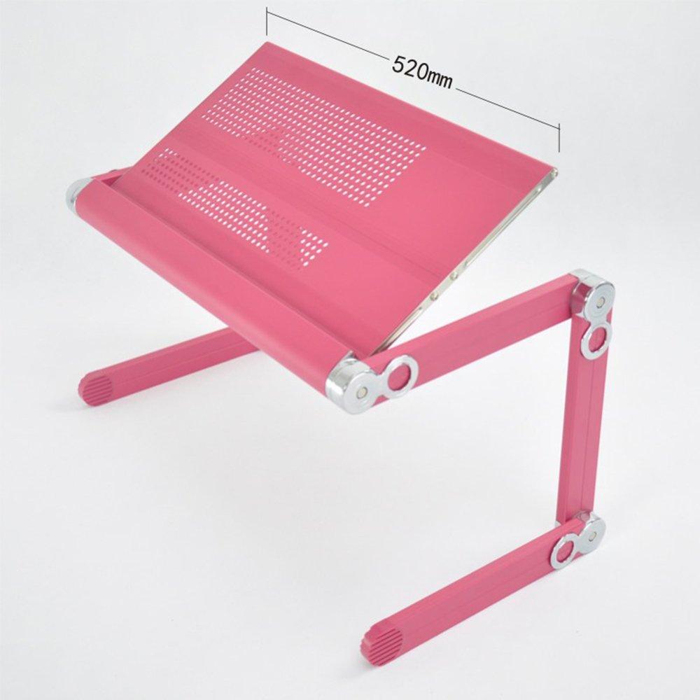 ノートパソコンスタンド 人間工学に基づいたノートパソコン用スタンドテーブルベッド朝食用トレイ、スタディデスク、ポータブルバーテーブル、折りたたみレベル、ノートブックスタンド(折りたたみ式、ファン、アルミニウム合金、脚の角度調整可能)(30kgまでサポート) (サイズ さいず : Pink-52) Pink-52  B07R1RVK2Z