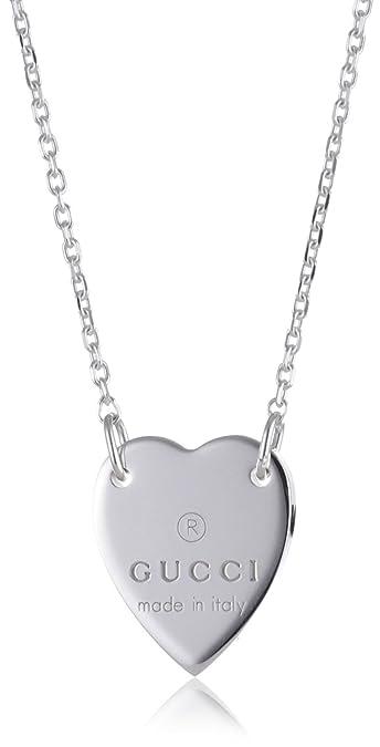 739e8565d Amazon.com: Gucci Necklace Trademark Heart Pendant in Sterling Silver  Ybb223512001: Jewelry