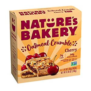 Nature's Bakery Nature's Bakery Oatmeal Crumble Bars, Cherry, Real Fruit, Vegan, Non-Gmo, Breakfast bar, 1 Box With 6 Bars, 6Count