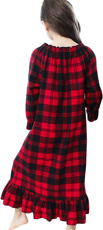 PUFSUNJJ Girls Princess Nightgown,Winter Long Sleeve Flannel Nightdress Pajamas Dress Kids 3-12 Years