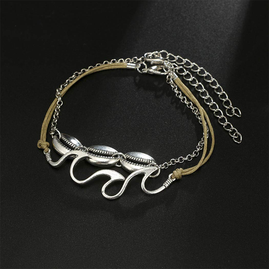 Brishow Bohemian Silver Layered Shell Anklet Bracelet Chain with Wave Design for Women and Girls
