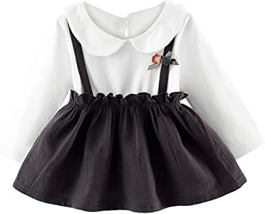 KONFA Toddler Baby Girls Solid Color Ruffles Dress,Suitable for 0-24 Months,Little Princess Casual Skirt Clothes Set
