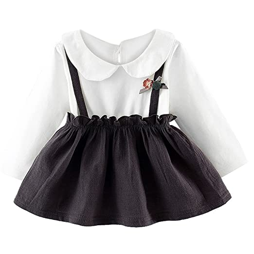 30d4b3faeb Amazon.com  Yamally 1pc 6-24M Toddler Kids Baby Girls Flower Clothes Long  Sleeve Party Princess Dresses  Clothing