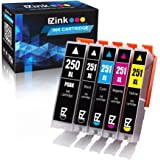 E-Z Ink (TM) Compatible Ink Cartridge Replacement for Canon PGI-250XL PGI 250 XL CLI-251XL CLI 251 XL to use with PIXMA MX922 MG5520 (1 Large Black, 1 Cyan, 1 Magenta, 1 Yellow, 1 Small Black) 5 Pack