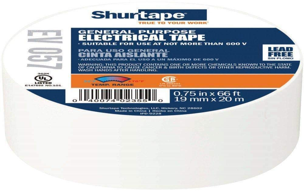 3/4'' - Shurtape EV 57 General Purpose, Flame Retardant, Vinyl Electrical Tape, White - 100 Rolls/Case (2 Cases)