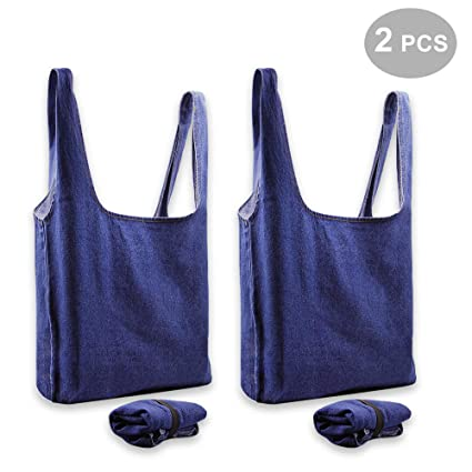 Image Unavailable. Image not available for. Color  WAOU Reusable Grocery  Bags Set of 2 Grocery Tote Foldable into Attached Pouch ... 02bb9afe23692
