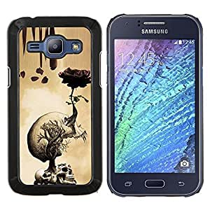 LECELL--Funda protectora / Cubierta / Piel For Samsung Galaxy J1 J100 -- Rose Cráneo Metal Rock Rollo Muerte Beige --