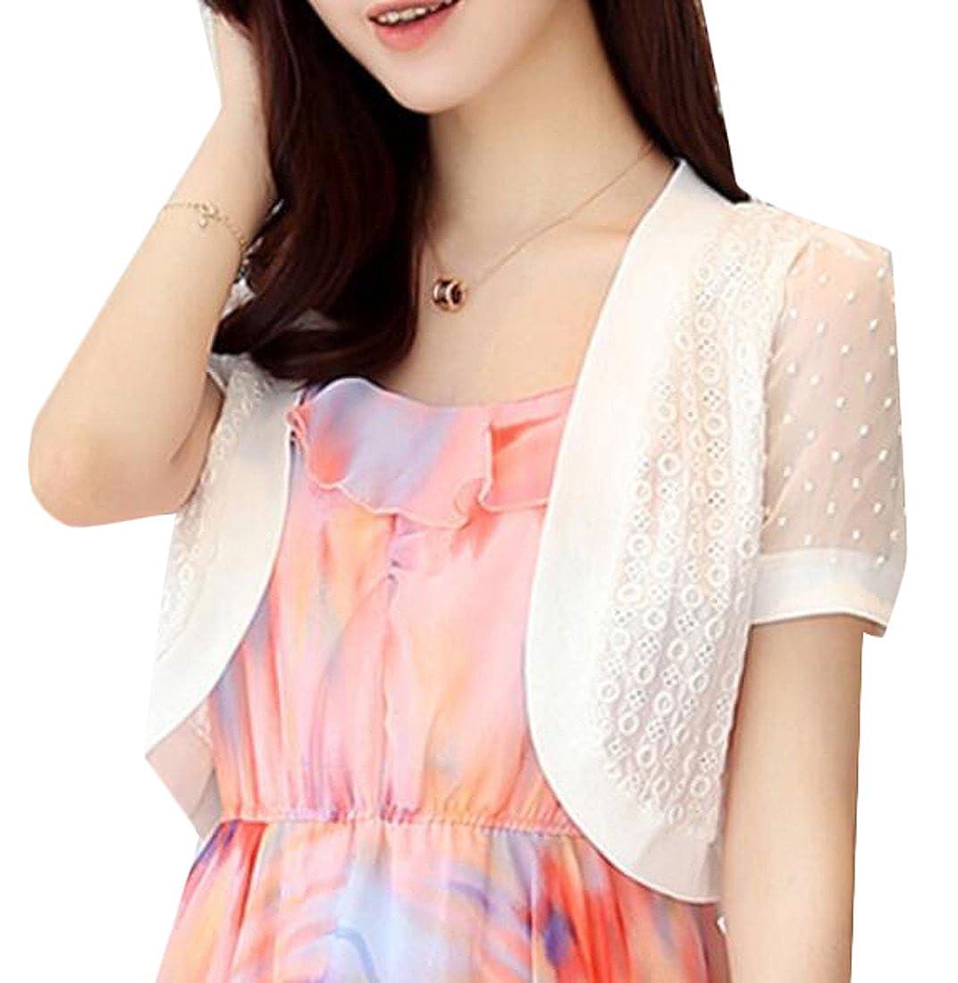 FLCH+YIGE Women Summer Short Sleeve Shrug Bolero Cardigan Ladies Crop Top