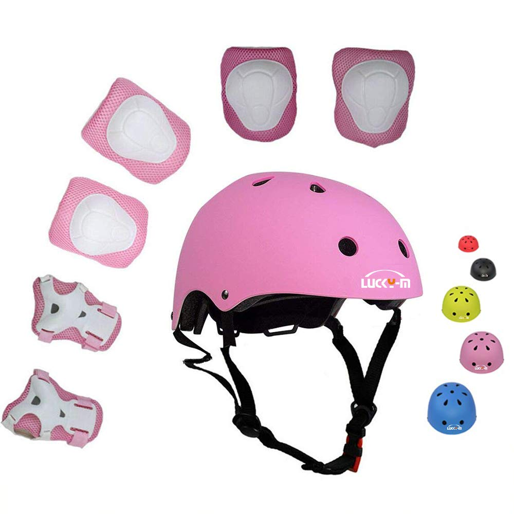 UniqueFit Lucky-M Kids Outdoor Sports Protective Gear,Boys and Girls Safety Pads Set Helmet,Knee Elbow Pads and Wrist Guards for Roller, Scooter, Skateboard, Bicycle 3-8 Years Old
