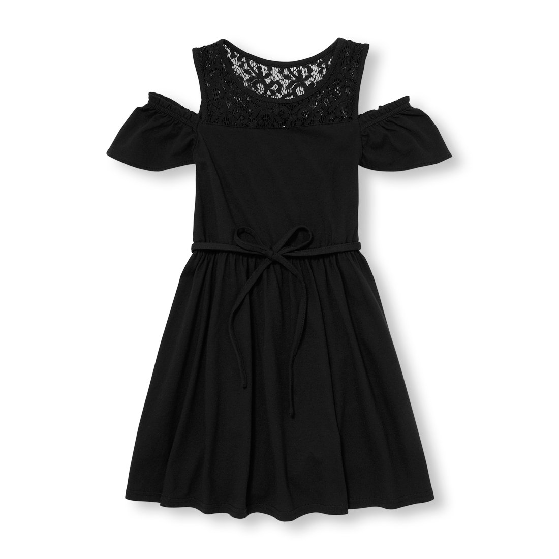 The Children's Place Big Girls' Off Shoulder Casual Dress,Black 5678,M (7/8)