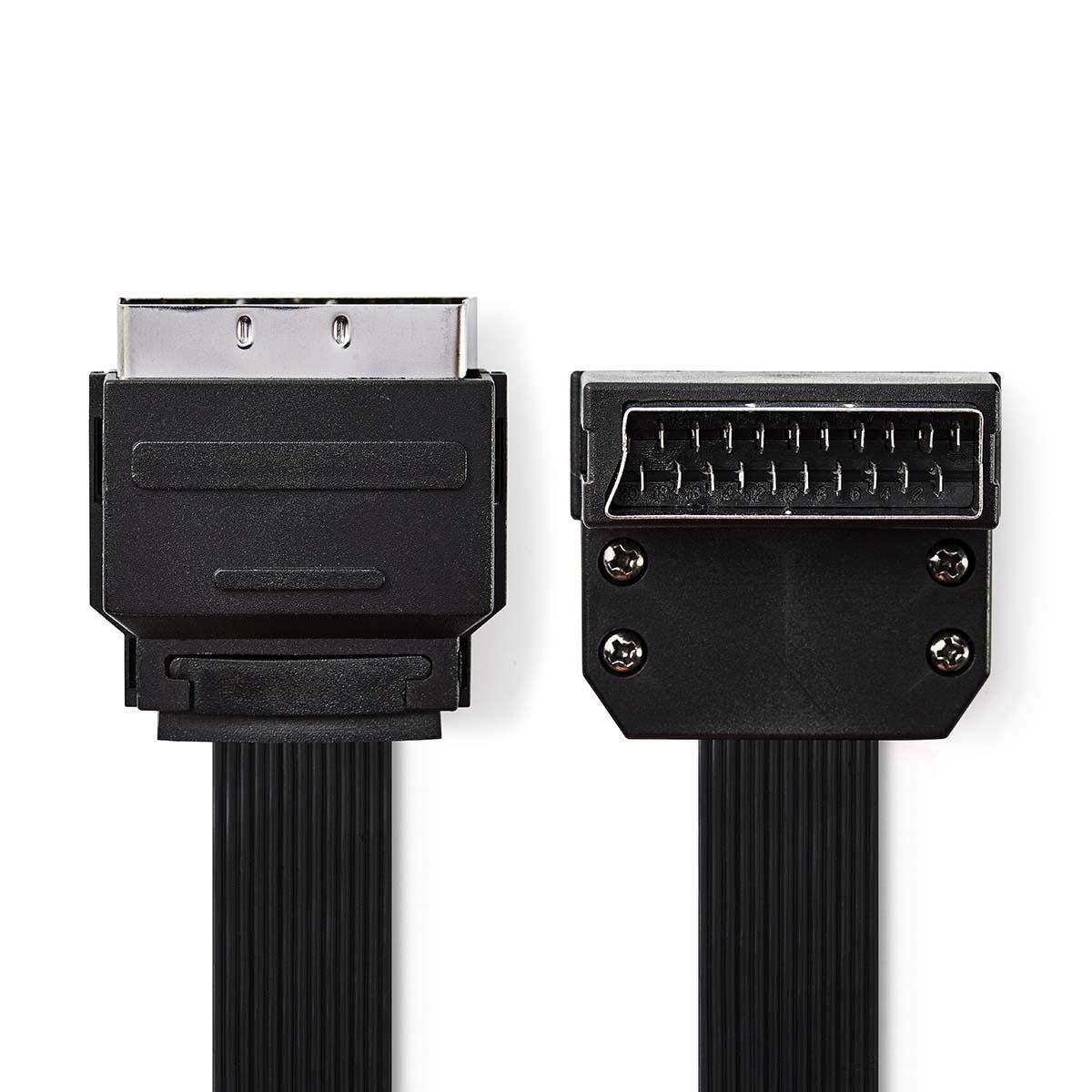 tronicxl Scart Cable AV Cable Plano Banda Plano euroconector Cable EUROCONECTOR Macho /ángulo Conector acodado/ /2/m