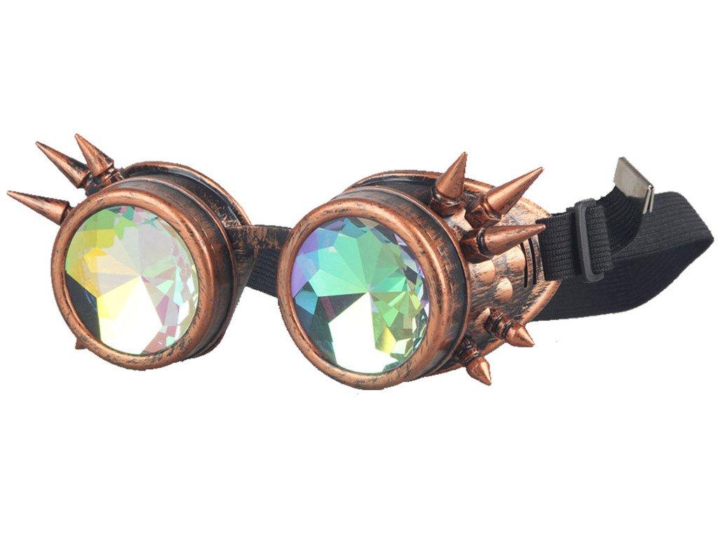 ZAIQUN Rivet Steampunk Windproof Mirror Vintage Gothic Lenses Goggles Glasses