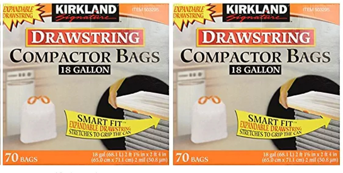 Kirkland Compactor Bags, 18 Gallon, Smart Fit Expendable Drawstrings 2 Pack