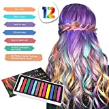 ⭐Passwolf⭐12 Colors Long Hair Chalk Set Temporary Color Safe Washable Dye Fit for Party&Cosplay (Multicolor) (ship from US)