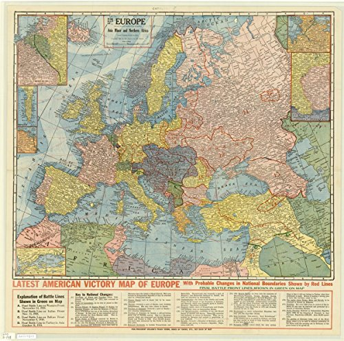 Historic Map Reproductions - Historic Map | Europe 1918 | War map of Europe, Asia minor and northern Africa (except extreme eastern part of Russia) | Antique Vintage Reproduction 36in x 36in