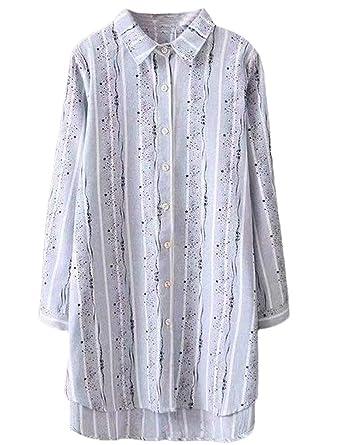 8b8a45c3d2b Mordenmiss Women s Printed Button Down Shirt Cotton Linen Tunic Tops (Light  Blue ...